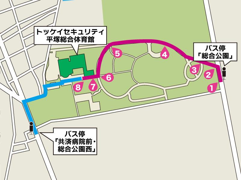 「総合公園」バス停から体育館への行き方